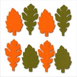 Őszi levél filc díszítőelem, narancs-zöld