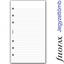 Vonalas Personal (M) méretű, fehér jegyzettömb, Filofax