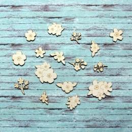 Cseresznye virágok chipboard karton díszítőelem