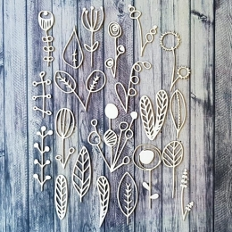Tavaszi doodle virágok chipboard karton díszítőelem