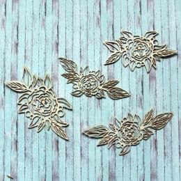 Rajzolt virágok chipboard karton díszítőelem