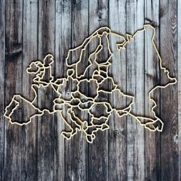 Európa térkép chipboard karton díszítőelem