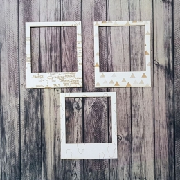 Utazós polaroid mini keretek chipboard karton díszítőelem