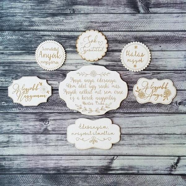 Édesanyám, virágosat álmodtam | chipboard címfelirat csomag