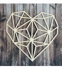 Geometrikus szív chipboard karton díszítőelem