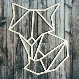 Geometrikus róka chipboard karton díszítőelem
