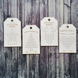 Karácsonyi ajándékkísérők| hímezhető chipboard