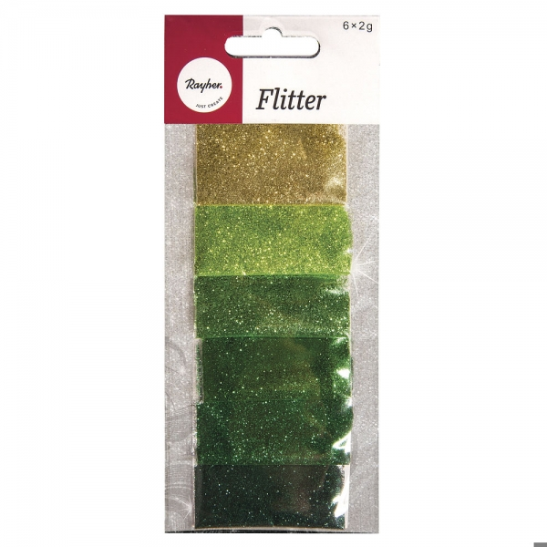 Zöld árnyalatú csillámpor csomag