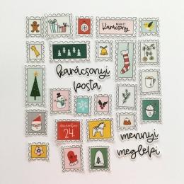 Karácsonyi bélyegek | pausz díszítőelem készlet