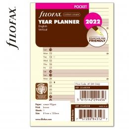 2022 Pocket Filofax éves naptárbetét álló krém