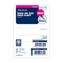 2022 Pocket Filofax heti naptárbetét 1 hét/1 oldal fehér