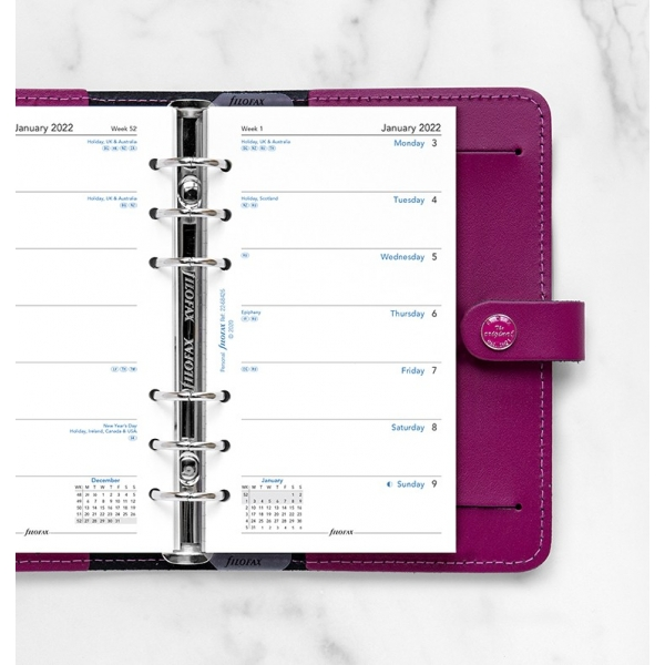 2022 Personal Filofax heti naptárbetét 1 hét/1 oldal fehér