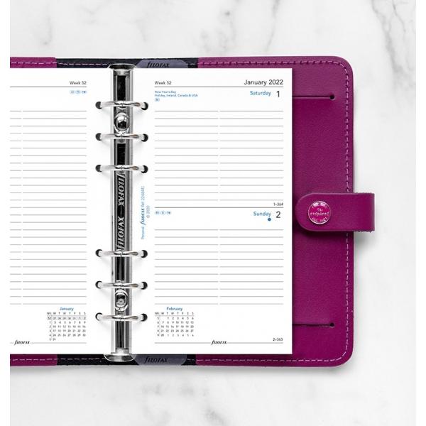 2022 Personal Filofax napi naptárbetét 1 nap / 1 oldal fehér