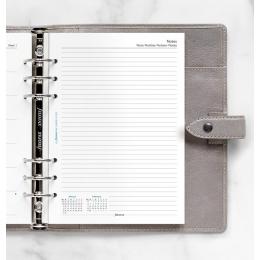 2022 A5 Filofax heti naptárbetét 1 hét / 1 oldal + 1 oldal jegyzet fehér