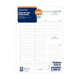 2022 A4 Filofax heti naptárbetét 1 hét/2 oldal oszlopos 5 nyelvű fehér lapos
