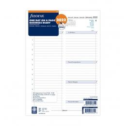 2022 A4 Filofax Business napi naptárbetét 1 nap/1 oldal fehér lapos