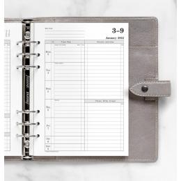 2022 A5 Filofax Time Management heti naptárbetét 1 hét / 2 oldal fehér