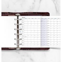 2022 Pocket Filofax éves naptárbetét lap horizontális fehér