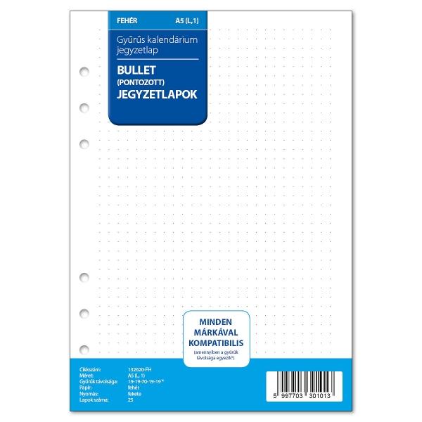 A5 ponthálós jegyzetlap fehér   Filofax