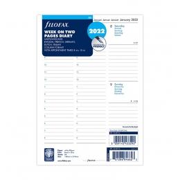 2022 A5 Filofax heti naptárbetét oszlopos elrendezés 1 hét / 2 oldal fehér