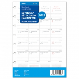 2022 A5 havi Notebook naptárbetét fehér lapos magyar nyelvű