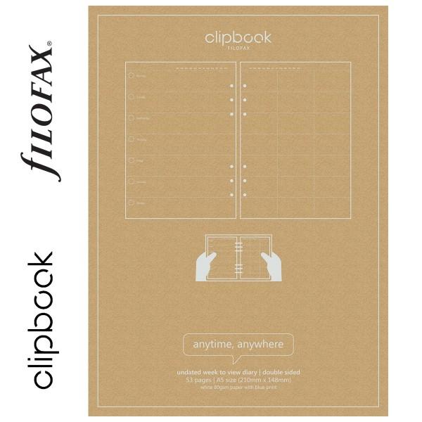 Heti A5 Filofax Clipbook Naptárbetét dátum nélkül