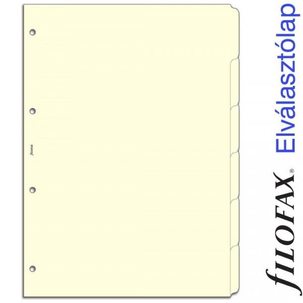Filofax Elválasztó lap, Bianco, 6 regiszter A4 Krém
