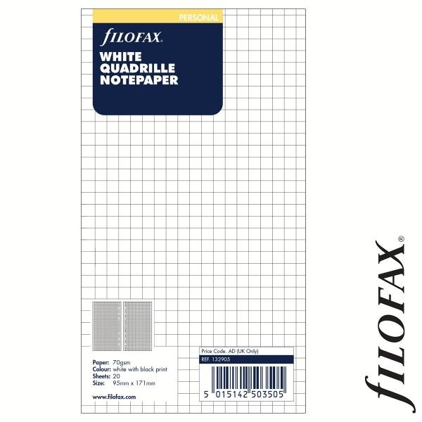 Filofax Jegyzetlapok, Négyzethálós, Personal Fehér