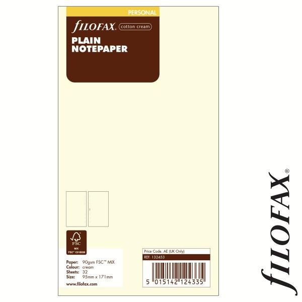 Filofax Jegyzetlapok, Üres, nagy csomag Personal Krém