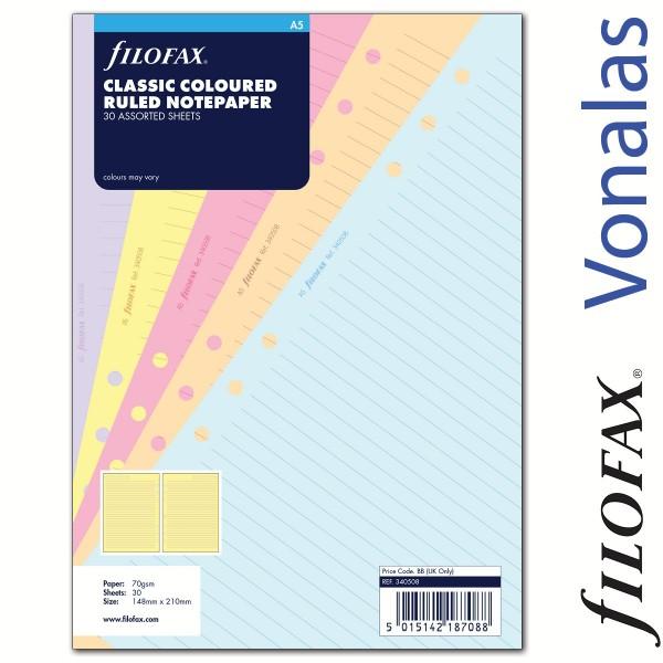 Filofax Jegyzetlapok, Vonalas, A5 vegyes színű