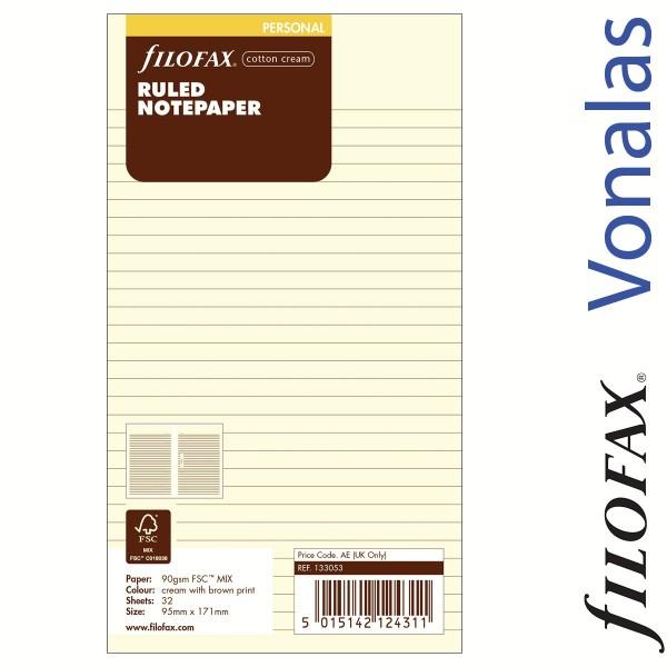Filofax Jegyzetlapok, Vonalas, Personal Krém