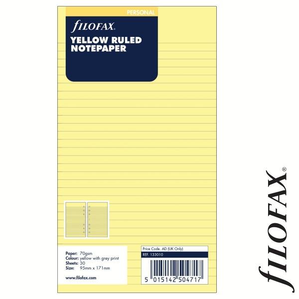 Filofax Jegyzetlapok, Vonalas, Personal Sárga