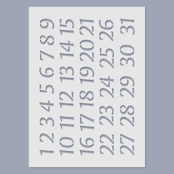 Naptár számok stencil