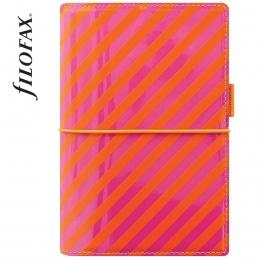 Filofax Domino Lakk Personal pink-narancs csíkos
