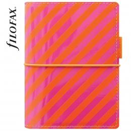 Filofax Domino Lakk Pocket pink-narancs csíkos