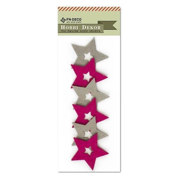 Filc csillag, szürke-ciklámen
