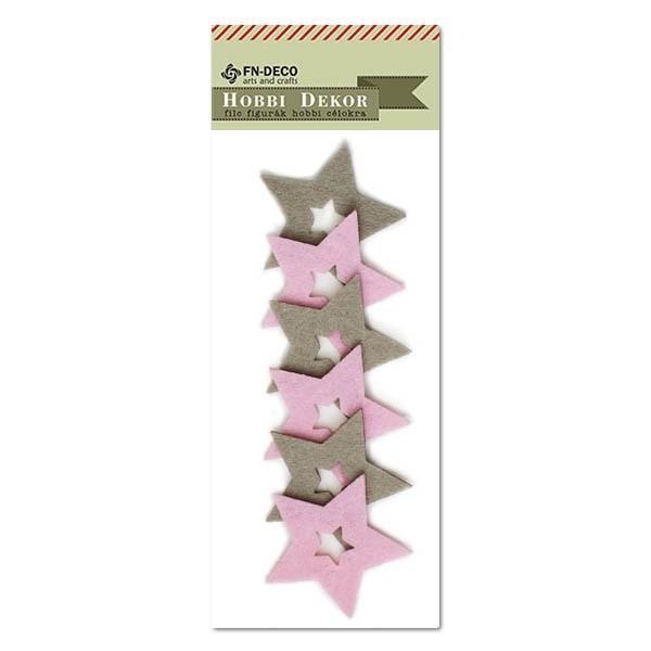 Csillag filc díszítőelem, szürke-rózsaszín