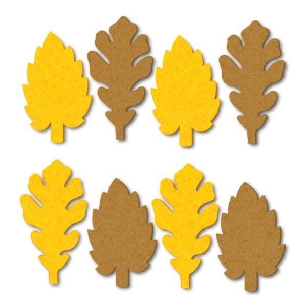 Őszi levél filc díszítőelem, sárga és barna