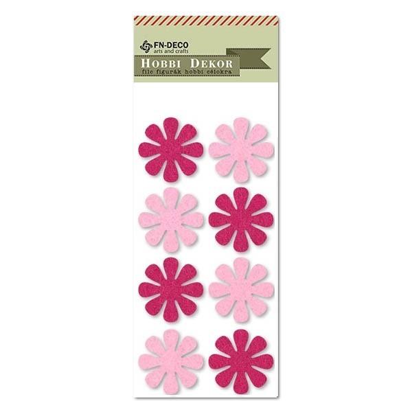 Virág, filc díszítőelem, rózsaszín-pink