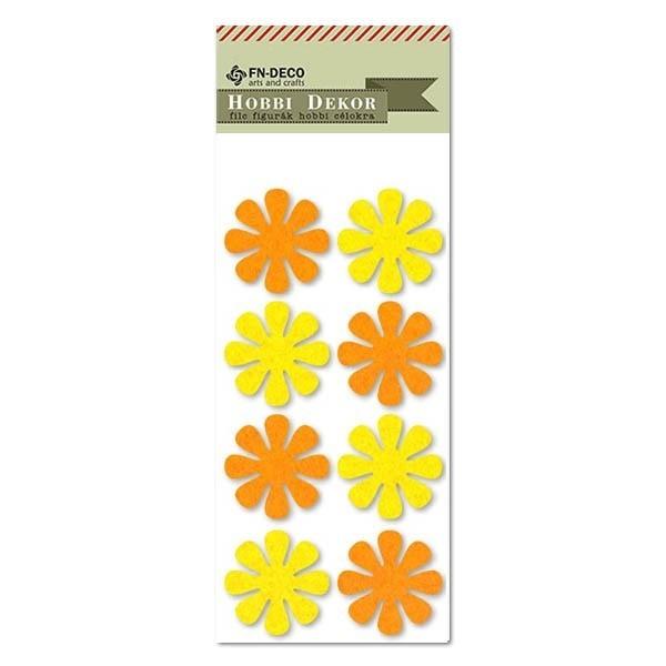 Virág filc díszítőelem, sárga-narancs