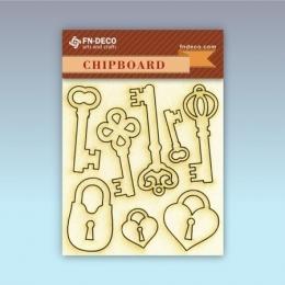 Kulcsok és lakatok chipboard karton díszítőelem
