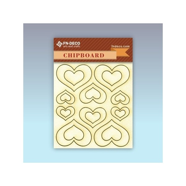 Szív chipboard karton díszítőelem