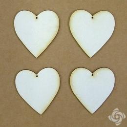 Szív chipboard karton díszítőelem, 5 cm