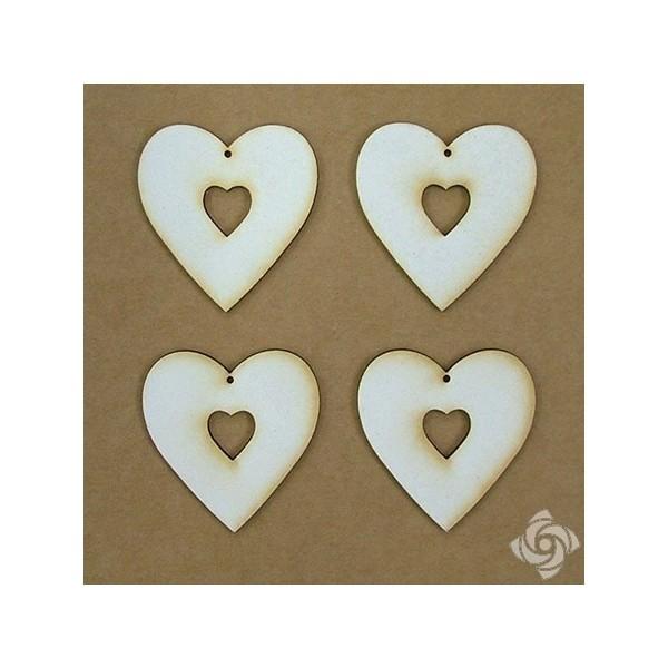 Szív a szívben chipboard karton díszítőelem