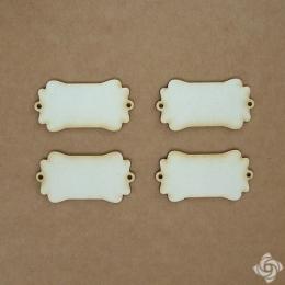 Címke 3 chipboard karton díszítőelem, 5 cm