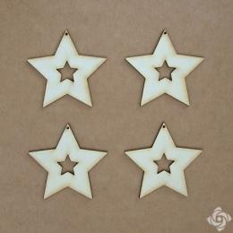 Csillag a csillagban Keretek chipboard karton díszítőelem, 5 cm
