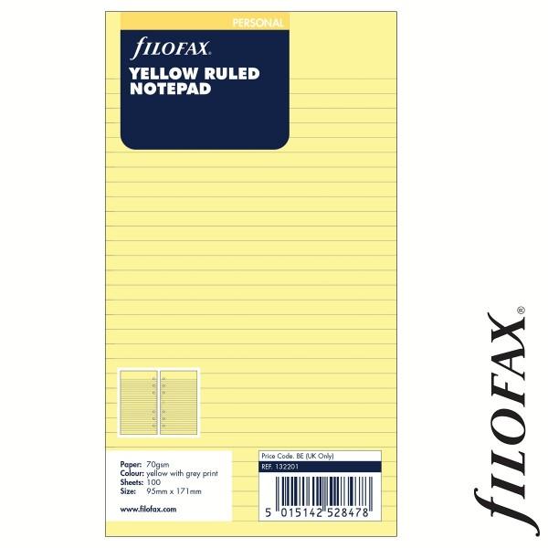 Vonalas Personal (M) méretű, sárga jegyzettömb, Filofax