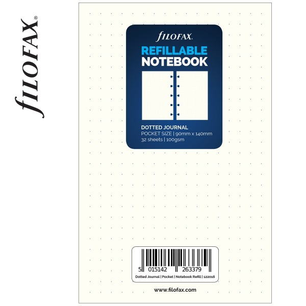 Dotted Pocket Filofax Notebook fehér ponthálós jegyzetlapok