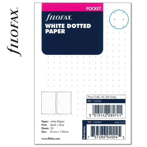 Fehér Pocket ponthálós Filofax jegyzetlap