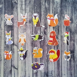 Az őszi erdő állatai | papír díszítőelem készlet